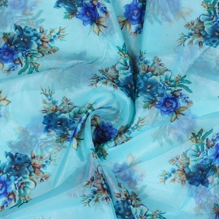 Sky Blue Beige Digital Organza Silk Fabric-51674