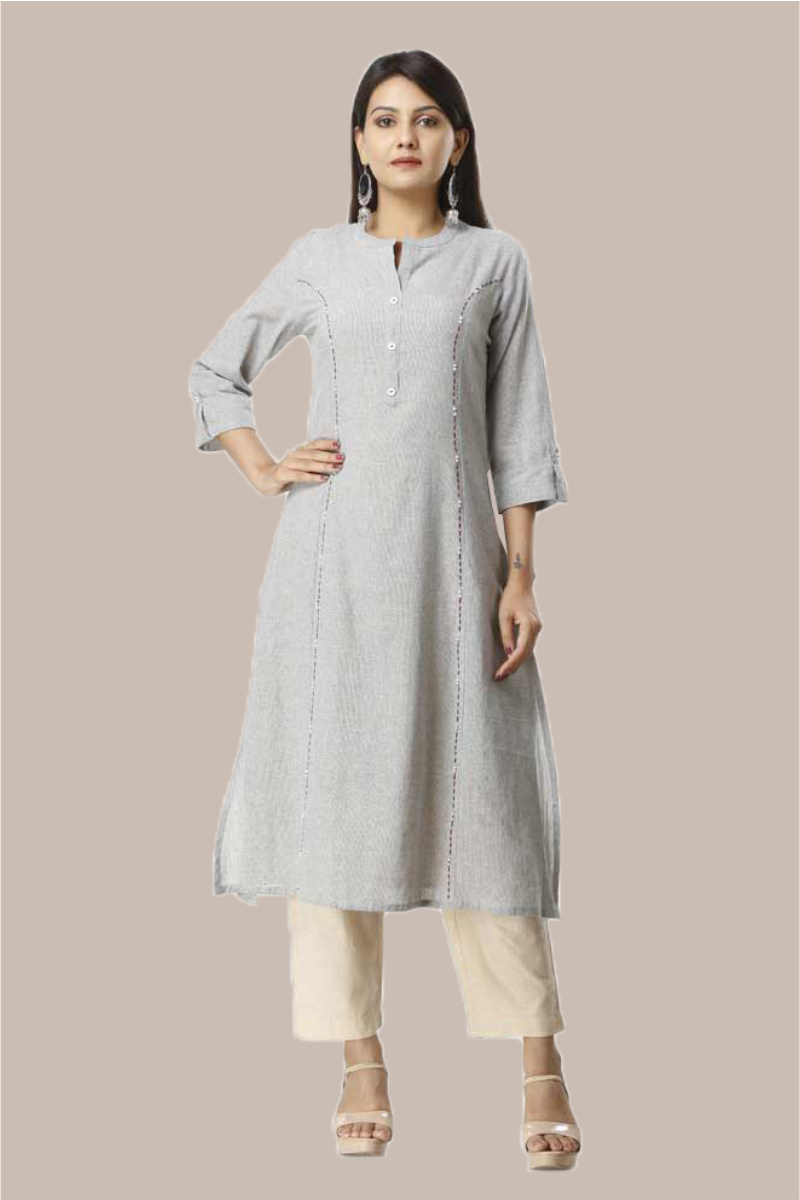 Kurta Pant Set-Sky Blue Beige Handloom Cotton Kurta Plain Ankle Length Pant Set-33743