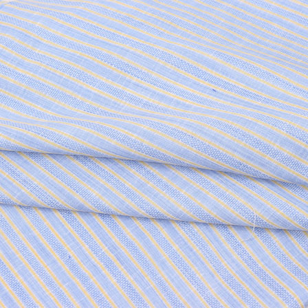 Sky Blue Beige Striped Handloom Khadi Cotton Fabric-40776