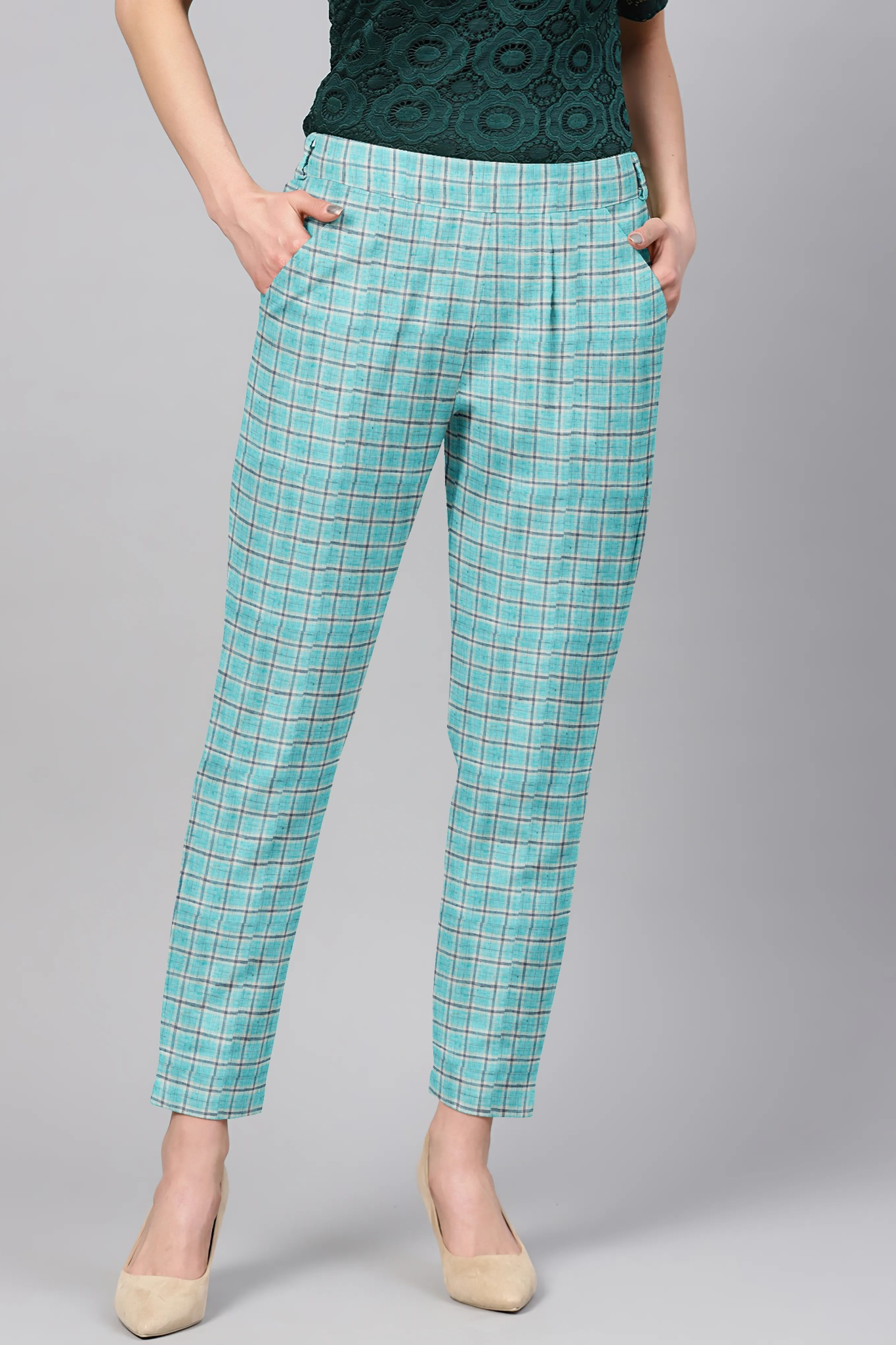 Sky Blue Black Cotton Check Regular Fit Solid Trouser-36081