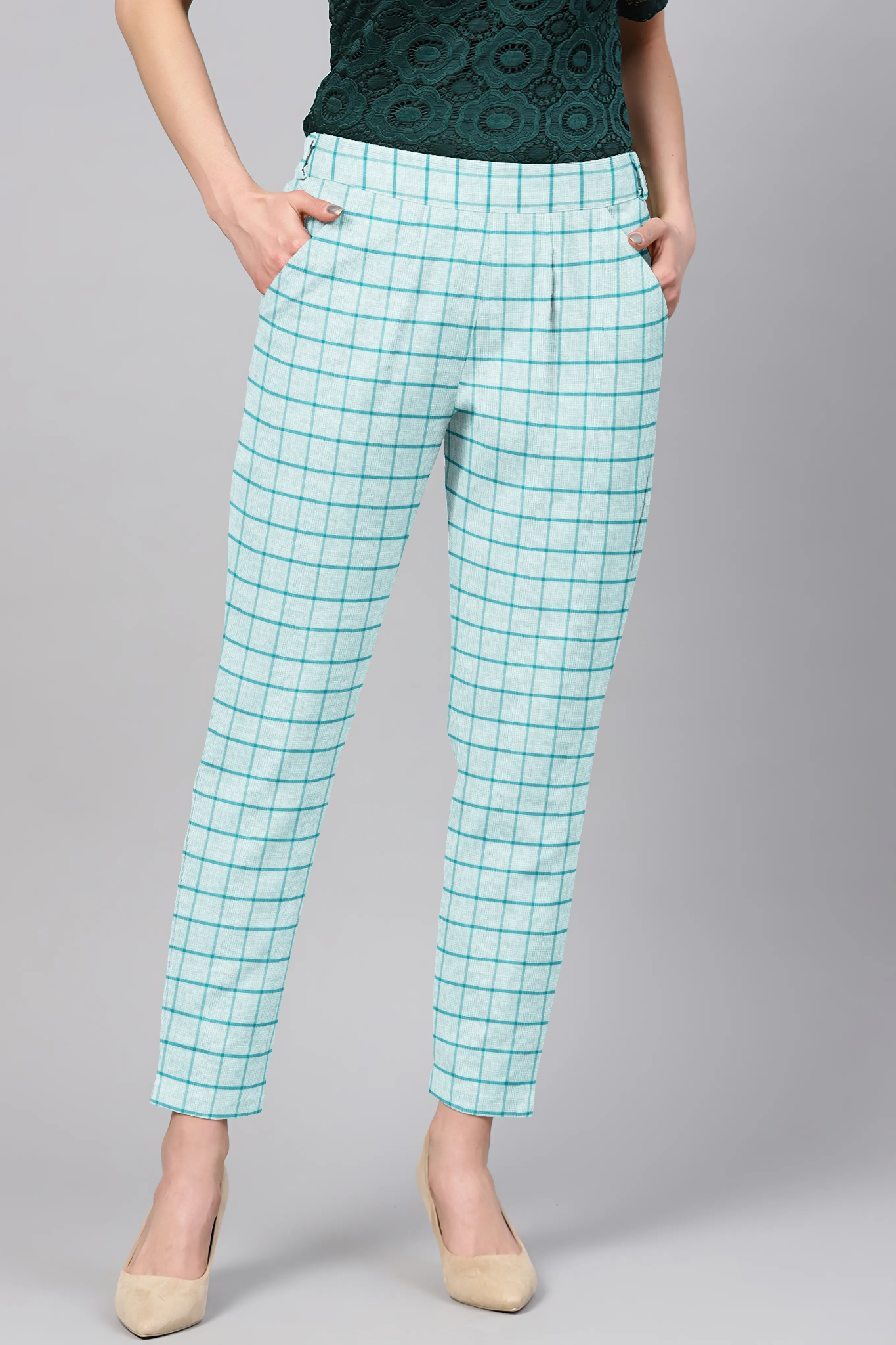 Sky Blue Black Cotton Check Regular Fit Solid Trouser-36095