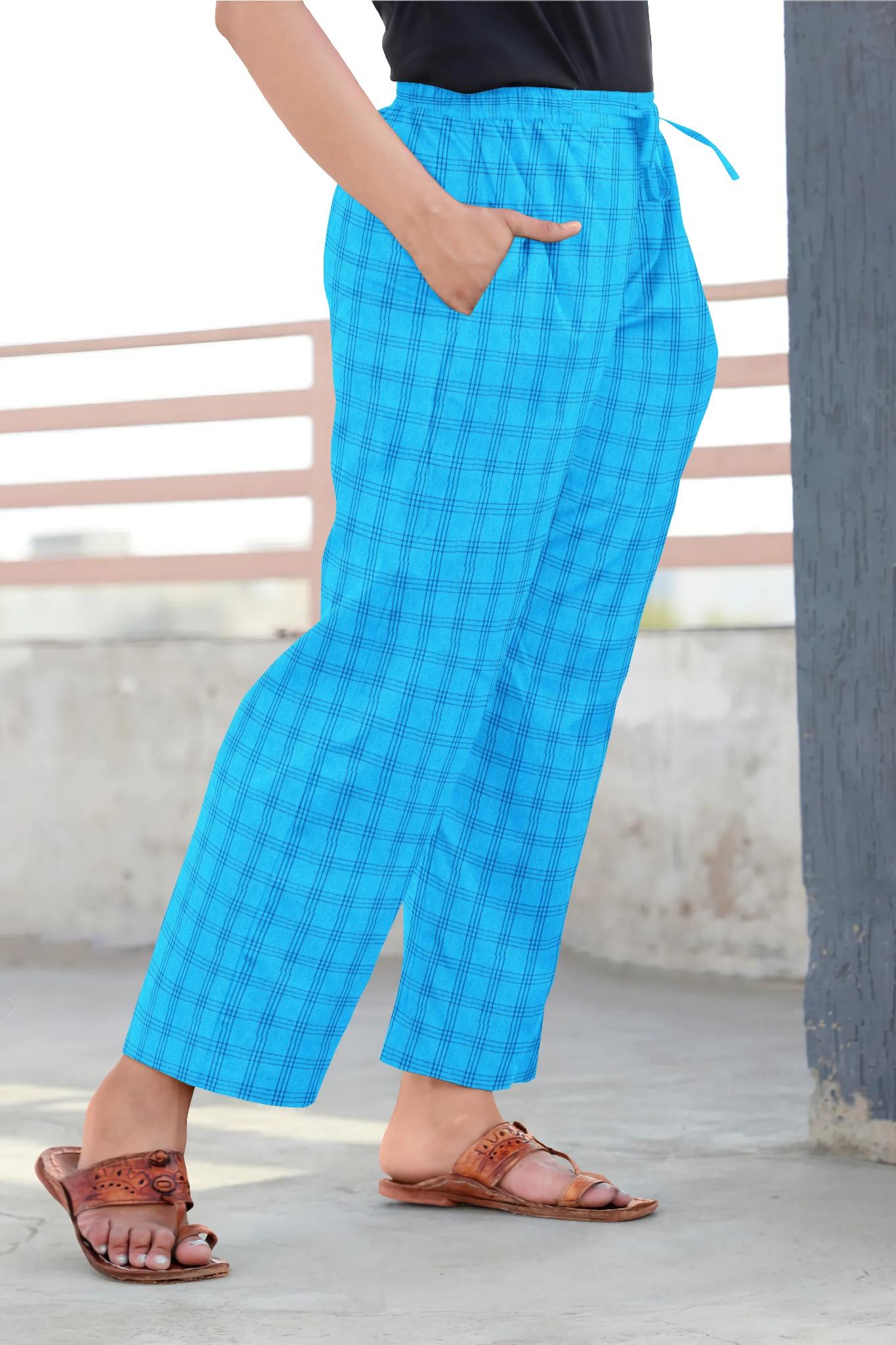 Sky Blue Black Cotton Regular Check Pant-35308