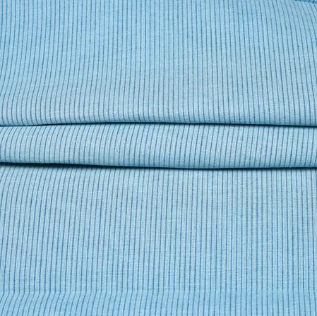Sky Blue Black Stripe Handloom Cotton Fabric-42452