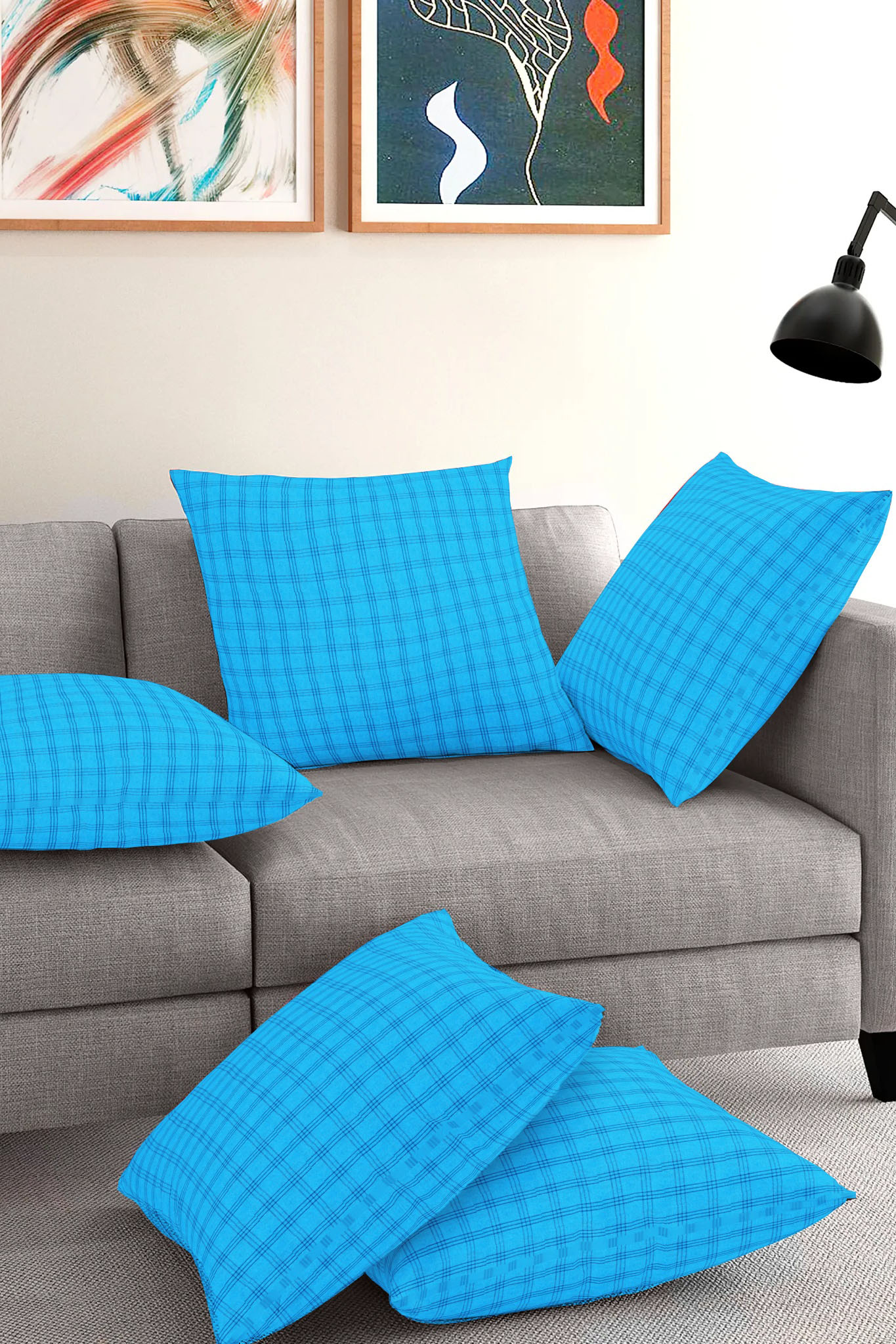 Set of 5-Sky Blue Blue Cotton Cushion Cover-35413-16x16 Inches