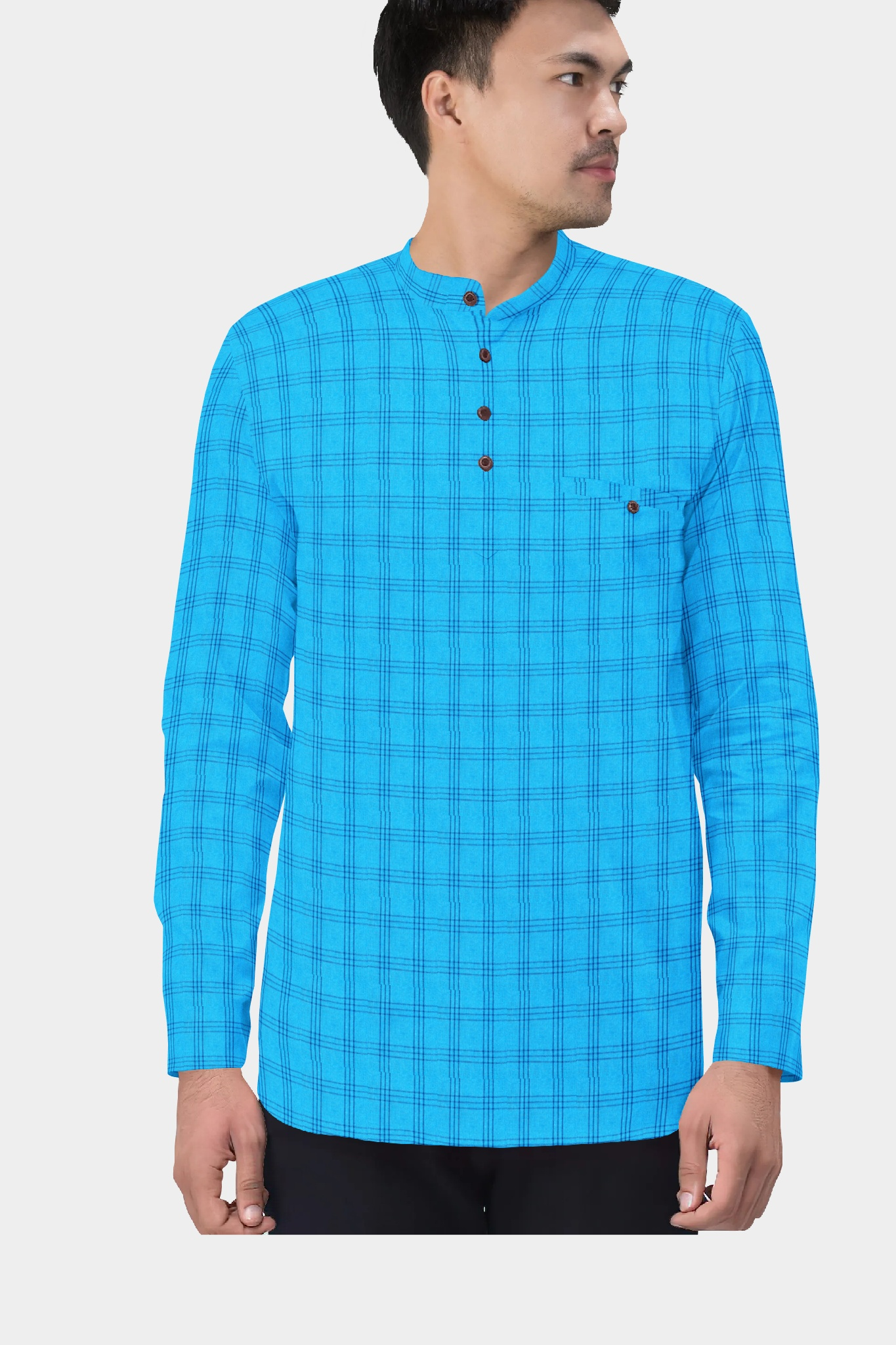Sky Blue Blue Cotton Check Short Kurta-35457