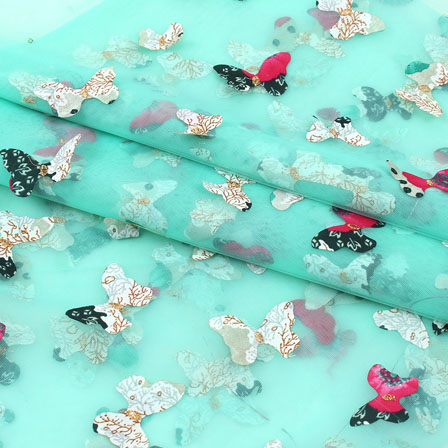 Sky Blue Red Butterfly Net Fabric-60951