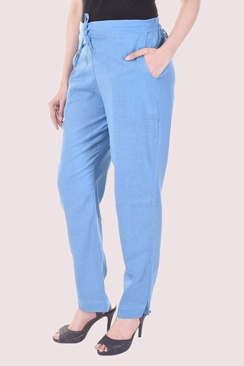 Sky Blue Cotton Slub Solid Women Pant-33297