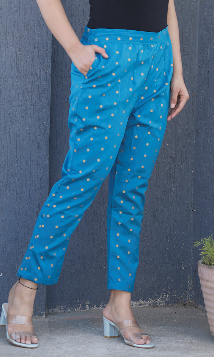 Sky Blue Golden Brocade Silk Ankle Women Pant-34456