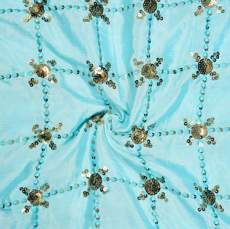 Sky Blue Golden Embroidery Silk Chinon Fabric-18536