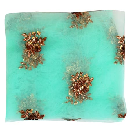 Sky Blue Golden Floral Embroidery Net Fabric-61000