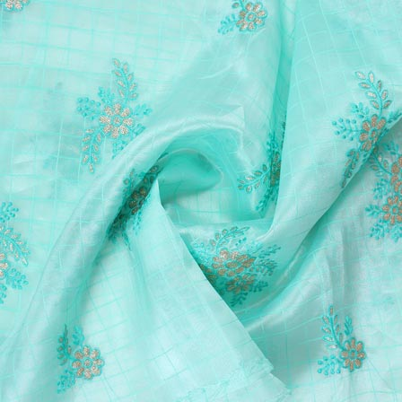 Sky Blue Golden Floral Embroidery Organza Silk Fabric-51698