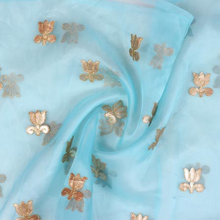 Sky Blue Golden Flower Embroidery Organza Silk Fabric-51704