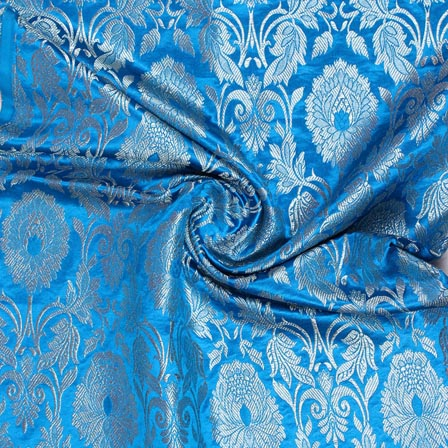 Sky Blue Golden Kinkhab Banarasi Silk Fabric-9331