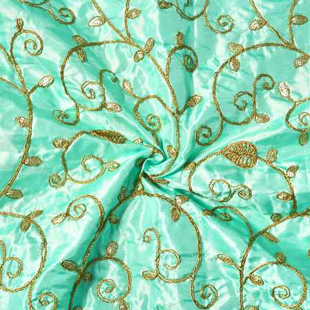 Sky Blue Golden Embroidery Silk Paper Fabric-18506