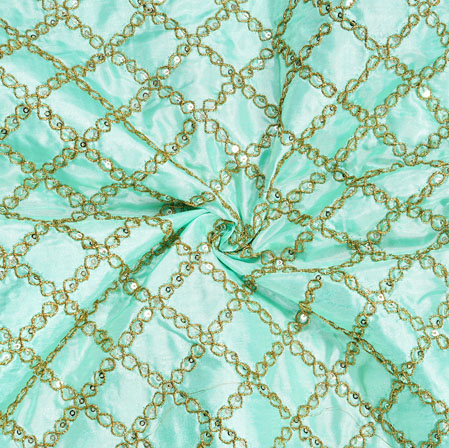 Sky Blue Golden Embroidery Silk Paper Fabric-18687