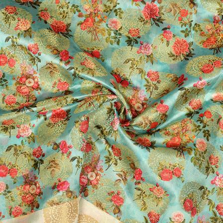 Sky Blue-Golden and Pink Flower Digital Banarasi Silk Fabric-24059