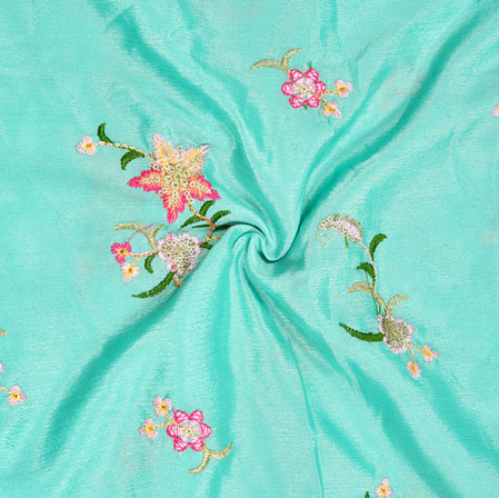 Sky Blue Green and Pink Embroidery Silk Chinon Fabric-18624