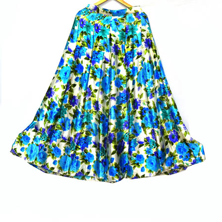 Sky Blue-Green and Purple Flower Design Satin Skirt-23034