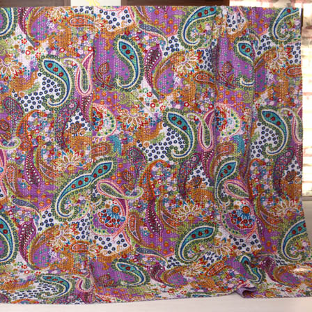 Sky Blue-Green and Purple Handmade Paisley Shape Kantha Quilt-4351