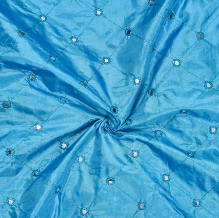 Sky Blue Mirror Embroidery Silk Paper Fabric-18605