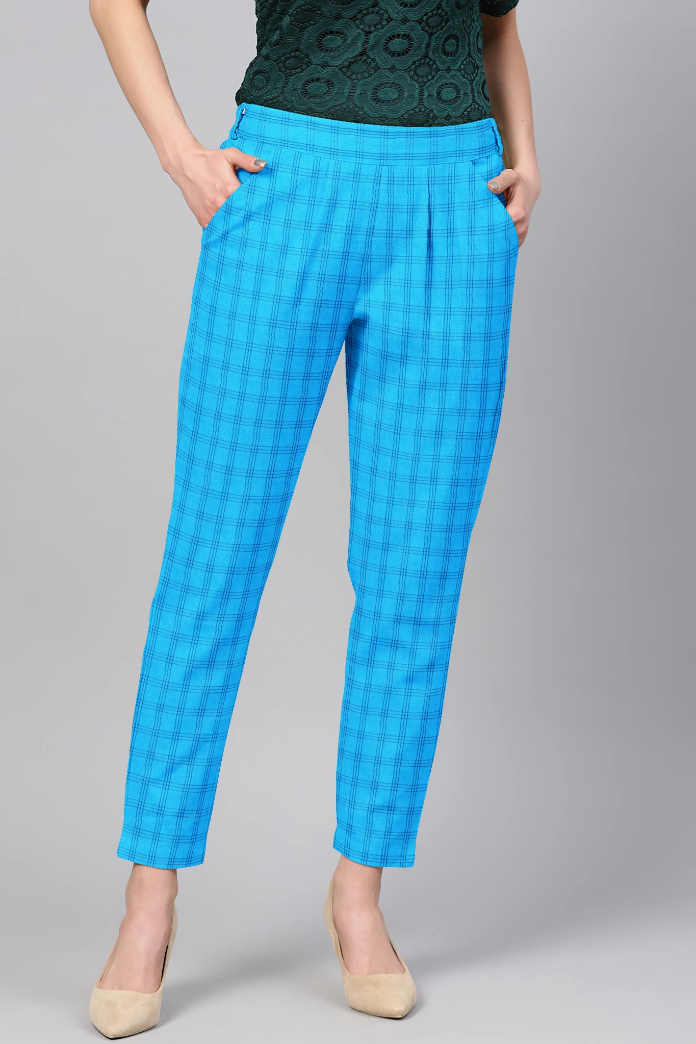 Sky Blue Navy Blue Cotton Check Regular Fit Solid Trouser-36100