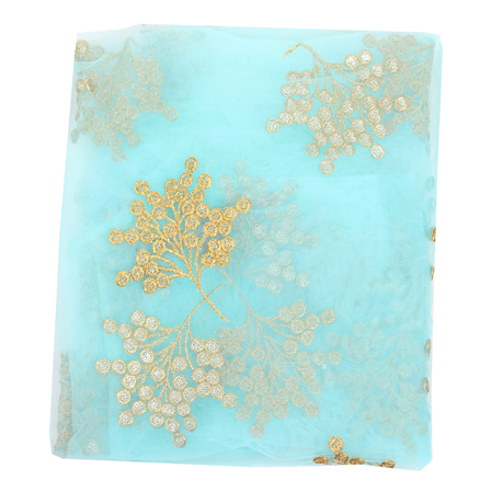Sky Blue Net Fabric With Golden Flower Embroidery-60821