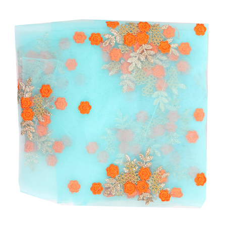 Sky Blue Net Fabric With Orange and Golden Flower Embroidery-60827