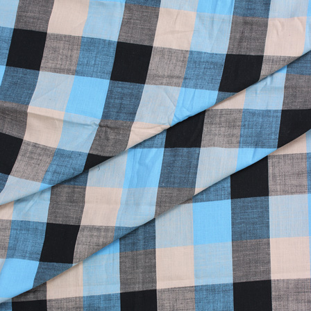 Sky Blue-Off White and Black Large Slub Checks Handloom Cotton Khadi Fabric-40047