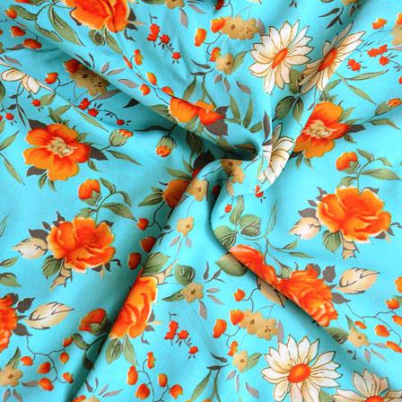 Sky Blue Orange Flower Crepe Silk Fabric-18219