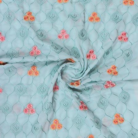 Sky Blue Orange and Pink Floral Print Fox Georgette Embroidery Fabric-15289