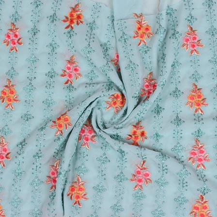 Sky Blue Orange and Pink Floral Print Fox Georgette Embroidery Fabric-15290