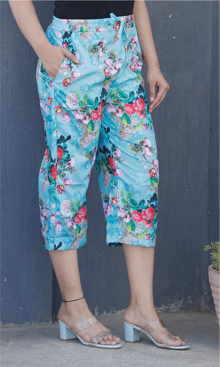 Sky Blue Pink Crepe Silk Women culottes-34440