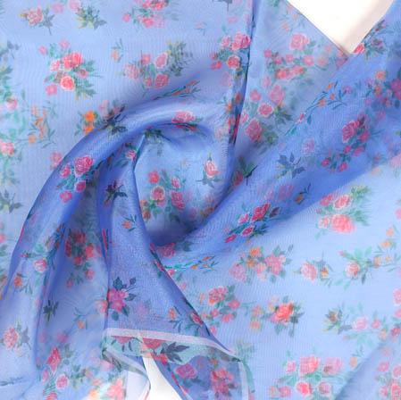 Sky Blue Pink Digital Floral Organza Silk Fabric-51744