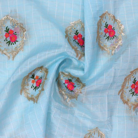 Sky Blue Pink Embroidery Organza Silk Fabric-51626