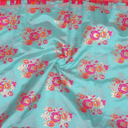 Sky Blue Pink Floral Banarasi Silk Fabric-9368