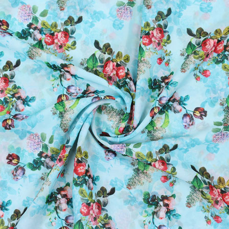 Sky Blue Pink Flower Georgette Silk Fabric-15251