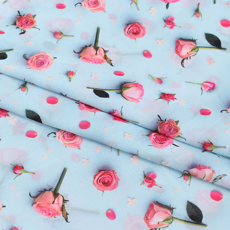 Sky Blue Pink Flower Chiffon Digital Fabric-15252