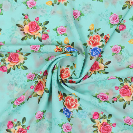 Sky Blue Pink Flower Georgette Silk Fabric-15255
