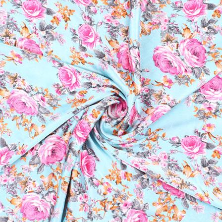 Sky Blue Pink Polka Japan Satin Fabric-18189