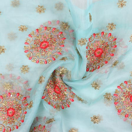 Sky Blue Pink and Golden Circle Embroidery Organza Silk Fabric-51710