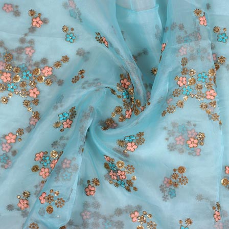 Sky Blue Pink and Golden Embroidery Organza Silk Fabric-51638