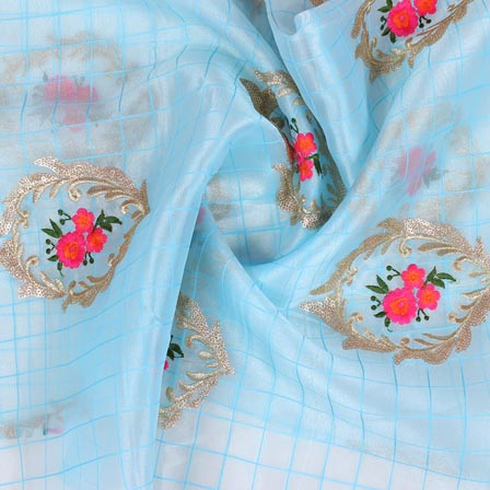 Sky Blue Pink and Golden Floral Embroidery Organza Silk Fabric-51692