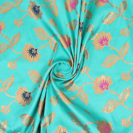 Sky Blue Pink and Golden Floral Brocade Silk Fabric-9079