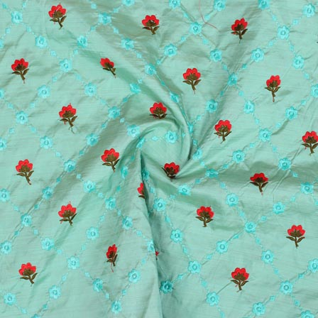 Sky Blue Pink and Golden Jalbari Embroidery Silk Fabric-61056