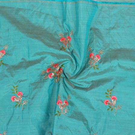 Sky Blue Pink and Green Bamboo Embroidery Silk Fabric-61010