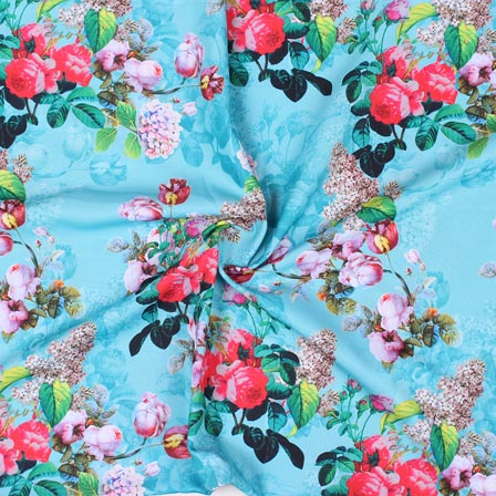Sky Blue Pink and Green Flower Crepe Silk Fabric-18264