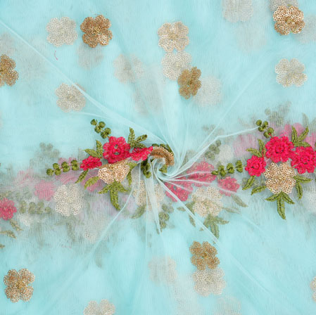 Sky Blue Pink and Green Embroidery Silk Net Fabric-18704