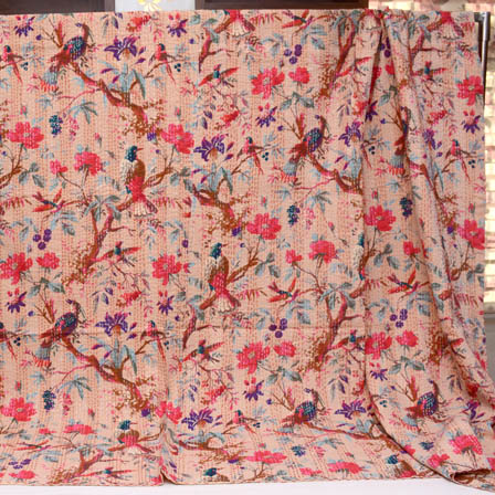 Sky Blue-Pink and Peach Handmade Bird Pattern Kantha Quilt-4377