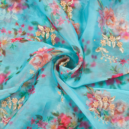 Sky Blue Pink and White Floral Organza Gota Work Fabric-22392