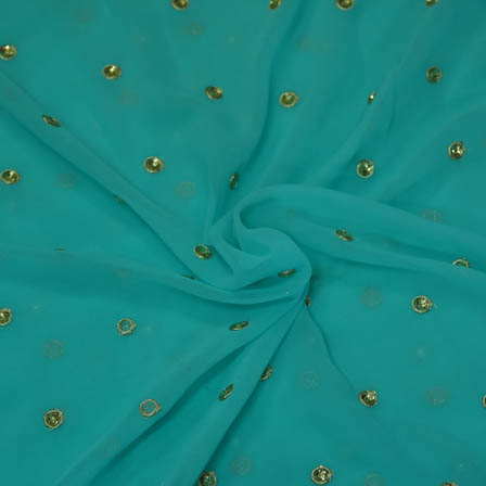 Sky Blue Poly Georgette Base Fabric With Golden Dot Embroidery-60052